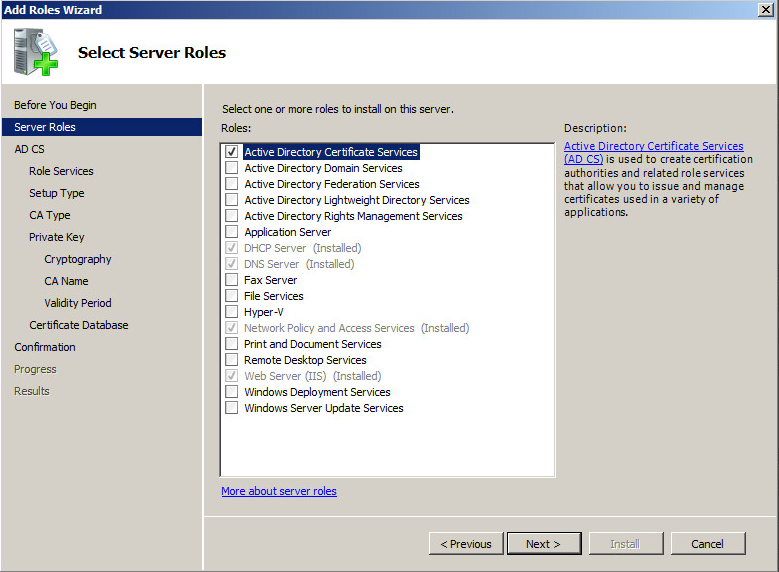 How to configure public key infrastructures network for Active directory certificate templates