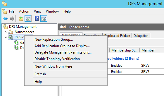 Add Replication Group to Display