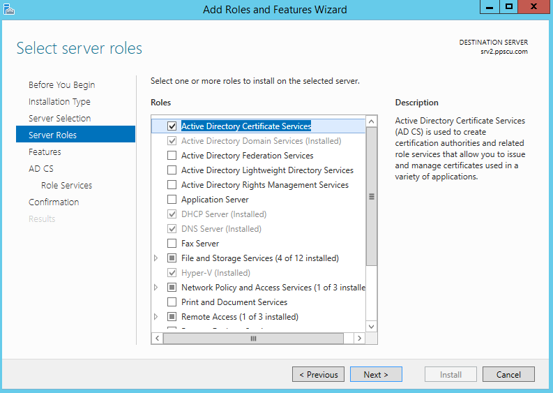 Active Directory Cerficate Service Roles