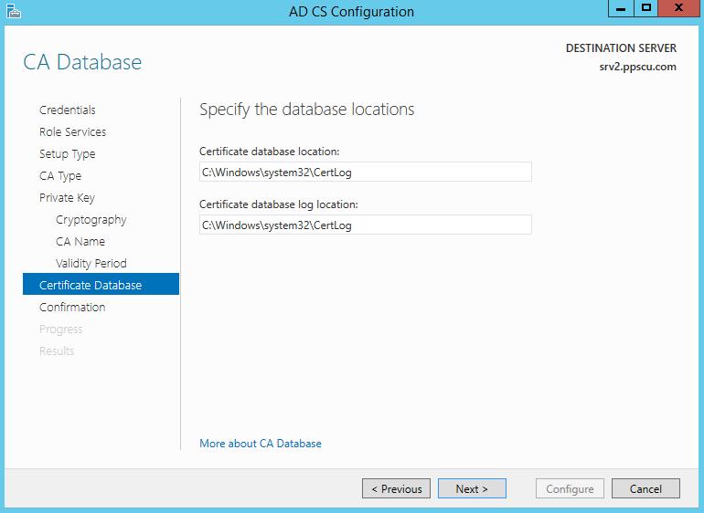 AD CS Configuration Database Location