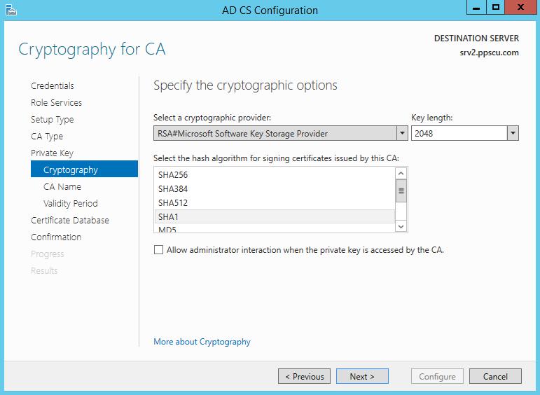 Cryptography for CA Key 2048 Hash SHA1