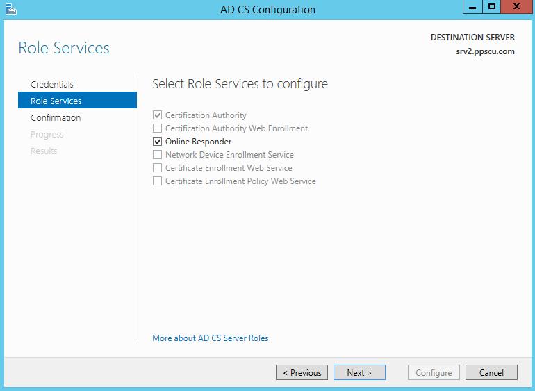 Onlnie Responder Configure Role Services