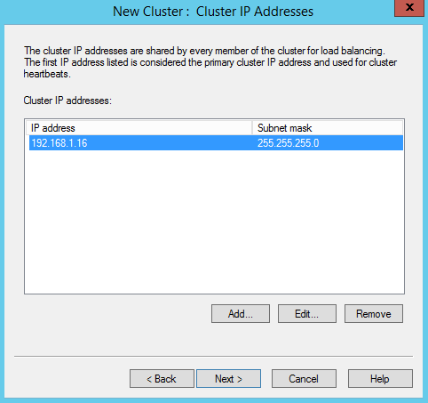 NLB Cluster IP Addresses