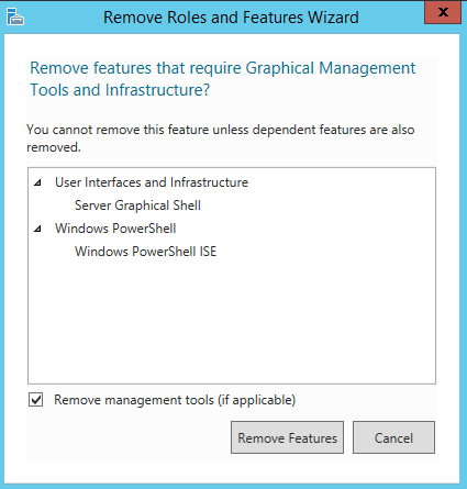 Converting a Windows Server with GUI to Server Core and vice