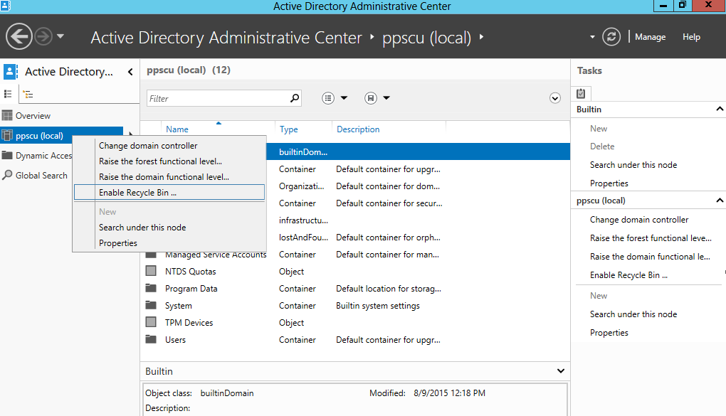 Restoring deleted objects from active directory using ad recycle bin network wrangler tech blog - Console active directory ...