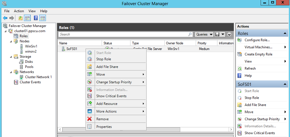 fail over cluster manager file share