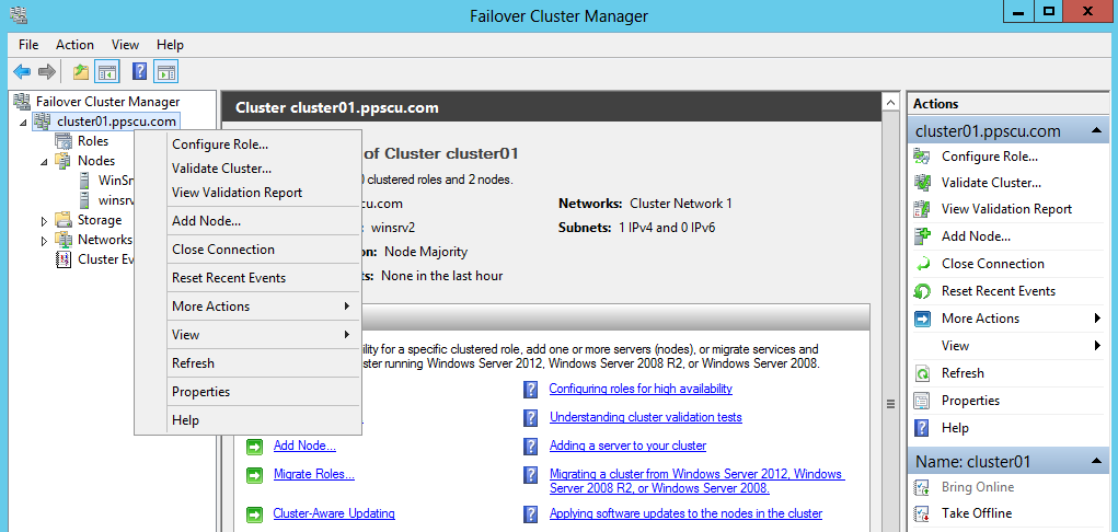 failover cluster manager