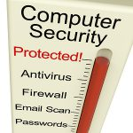 Computer Security Protected Monitor Shows Laptop Internet Safety