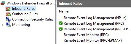 event log firewall rules