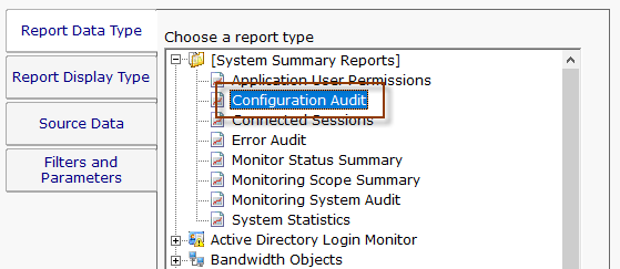 In The Example Below, The User Selects The Configuration Audit Report On  The Top Report Data Type Tab. The Configuration Audit Report Can Be Found  Under The ...