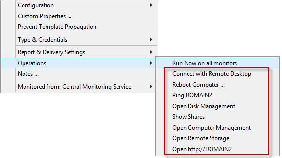 PA Storage Monitor Documentation - Customize Operations Menu