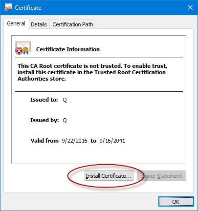 Internet explorer certificate details dialog