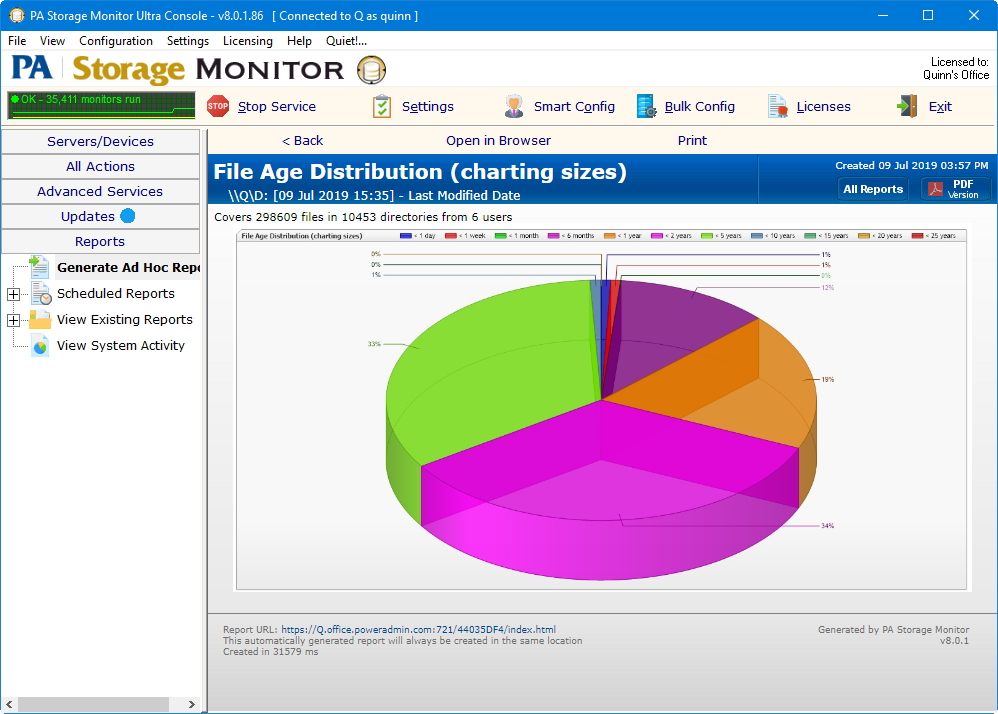 PA Storage Monitor's file age report